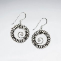 Oxidized Open Oval Earrings with Swirl Design