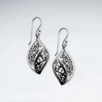 Oxidized Ornate Curves Dangle Earrings