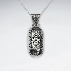 Oxidized Ornate Engraved Silver Oval Drop Pendant