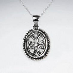 Oxidized Ornate Oxidized Silver Filigree Dangle Pendant