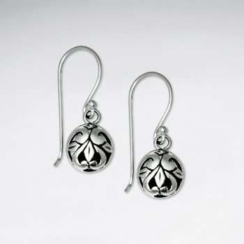 Oxidized Ornate Silver Filigree Globe Shape Round Drop Dangle Hook Earrings