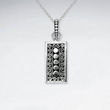 Oxidized Ornate Silver Rectangle Printed Design Pendant
