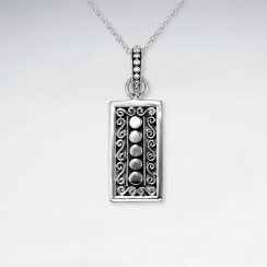 Oxidized Ornate Silver Rectangle Printed Design Pendant