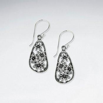 Oxidized Oval Drop Flower Filigree Dangle Hook Earrings