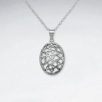 Oxidized Oval Silver Filigree Cutout Style Pendant