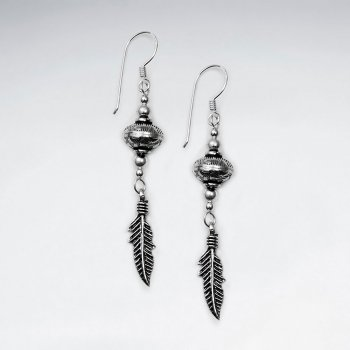 Oxidized Ovoid Drop Feather Pendant  Dangle Earrings