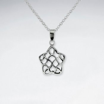 Oxidized Petite Filigree Organic Star Shape Silver Pendant