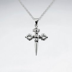Oxidized Pointed Tip Oxidized Silver Cross Pendant