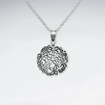 Oxidized Round Flower Cutout Circle Silver Pendant