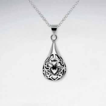 Oxidized Rounded Teardrop Filigree Polished Silver Pendant