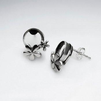 Oxidized Sassy Flower Hoop Stud Earrings