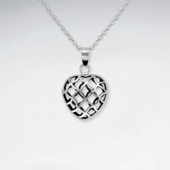 Oxidized Silver 3D Filigree Organic Heart Shape Pendant