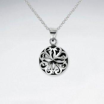 Oxidized Silver 3D Filigree Round Pendant
