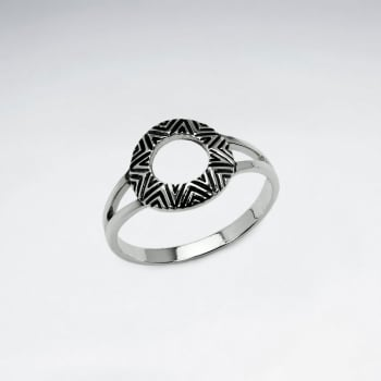 Oxidized Silver Ancient Sun Openwork Ring