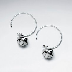 Oxidized Silver Bell Dangle Hook Earrings