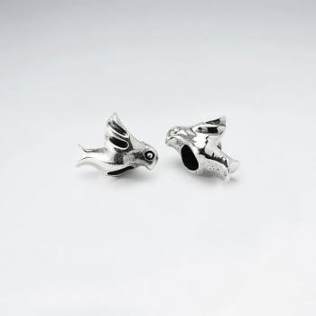 Oxidized Silver Bird Beads Pack Of 5 Pieces