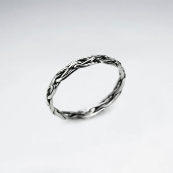 Oxidized Silver Braided Band Ring