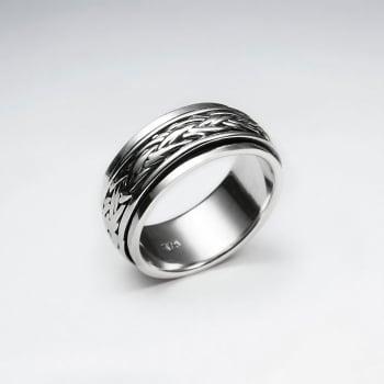 Oxidized Silver Braided Twist Ring