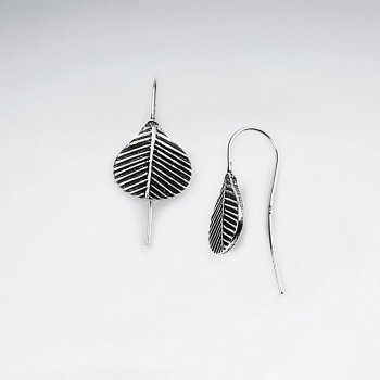Oxidized Silver Broad Leaf Textured Earrings
