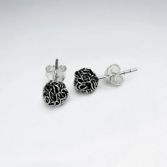 Oxidized Silver Bunched Ball Stud Earrings