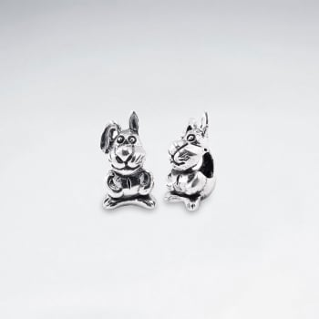 Oxidized Silver Bunny Beads Pack Of 5 Pieces