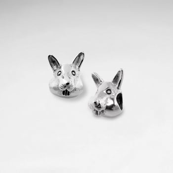 Oxidized Silver Bunny Face Beads