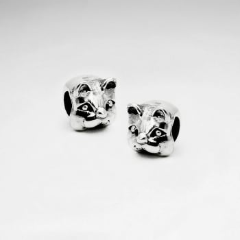 Oxidized Silver Cat Face Beads