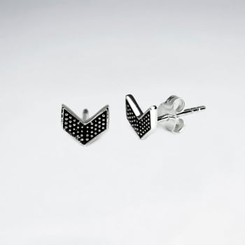 Oxidized Silver Chevron Textured Stud Earrings