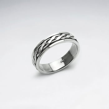 Oxidized Silver Chunky Rope Twist Band