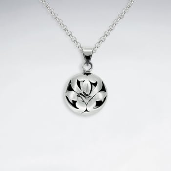 Oxidized Silver Circle Flower Motif Pendant