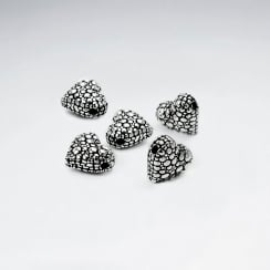 Oxidized Silver Crackled Heart Beads  Pack Of 5 Pieces