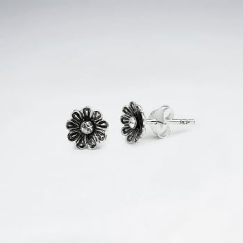 Oxidized Silver & CZ Studded Flower Blossom Stud Earrings
