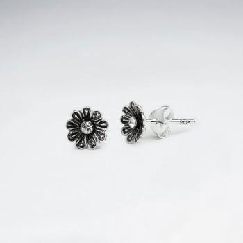 Oxidized Silver & CZ Studded Flower Blossom Stud Earrings