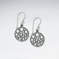 Oxidized Silver Dapple Filigree Circle Dangle Hook Earrings