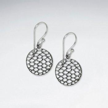 Oxidized Silver Dappled Circle Dangle Hook Earrings