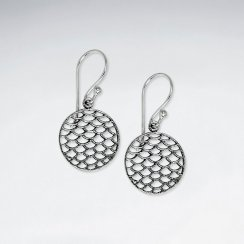 Oxidized Silver Dappled Circle Dangle Hook Earrings