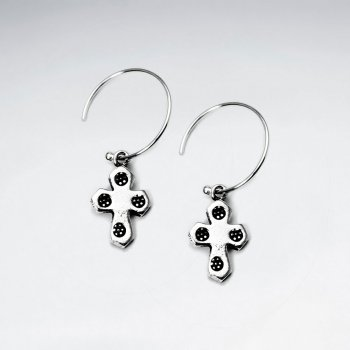 Oxidized Silver Decorated Cross Earrings