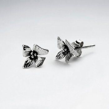 Oxidized Silver Delicate Bloom Stud Earrings