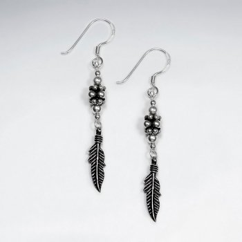 Oxidized Silver Detailed Dangle Drop Feather Post Earrings