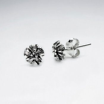 Oxidized Silver Detailed Flower Blossom Stud Earrings