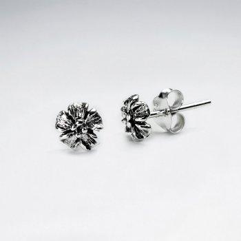 Oxidized Silver Detailed Flower Blossom Stud Earrings