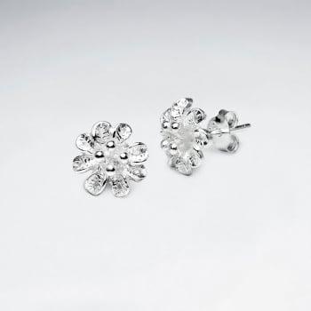 Oxidized Silver Detailed Flower Stud Earrings