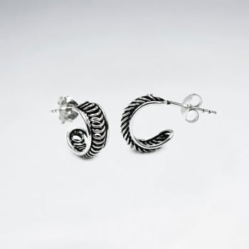 Oxidized Silver Detailed Half Hoop Stud Earrings