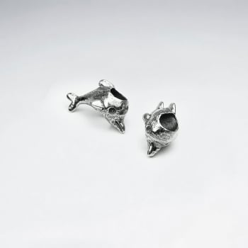 Oxidized Silver Dolphin Beads Pack Of 5 Pieces