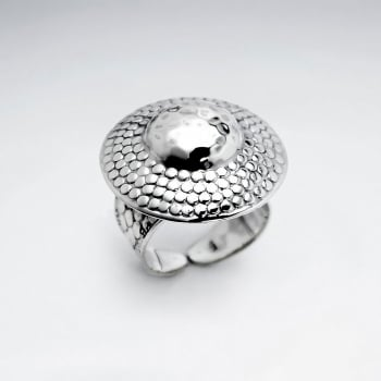 Oxidized Silver Dome Bubble Texture Disc Ring