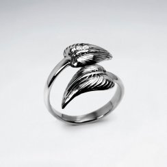 Oxidized Silver Double Feather Open Band Ring