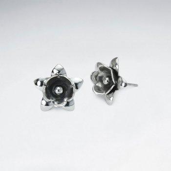 Oxidized Silver Edgy Style Flower Design Earrings