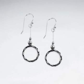 Oxidized Silver Edgy Style Open Circle Dangle Earrings