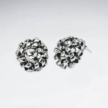 Oxidized Silver Elaborate Flower Inspired Earrings