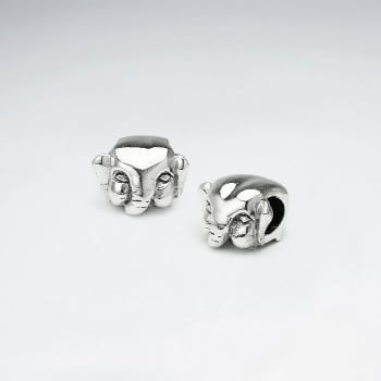 Oxidized Silver Elephant Head Beads